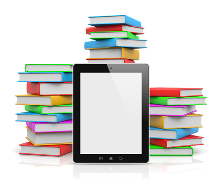 ebook reader: Tablet Pc Ahead of Piles of Colored Books Illustration