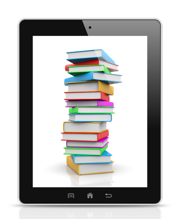 Tablet Pc Showing a Pile of Colored Books Illustration illustration
