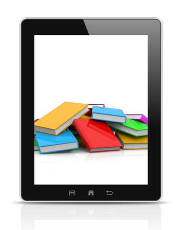 untidy: Tablet Pc Showing an Heap of Untidy Colored Books Illustration Stock Photo