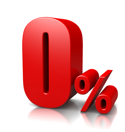 cent: Red Zero Percent Number