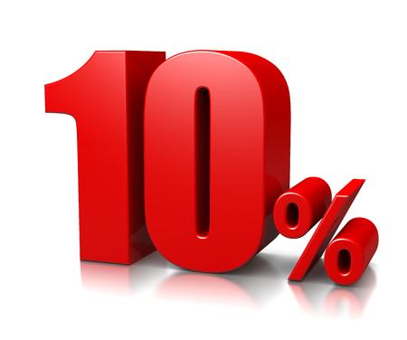 Red Ten Percent Number  Stockfoto