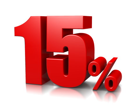 Red Fifteen Percent Number on White