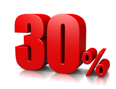 cent: Red Thirty Percent Number on White  Stock Photo