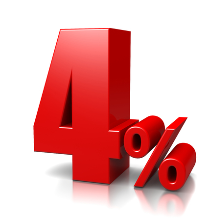 cent: Red Four Percent Number on White Stock Photo
