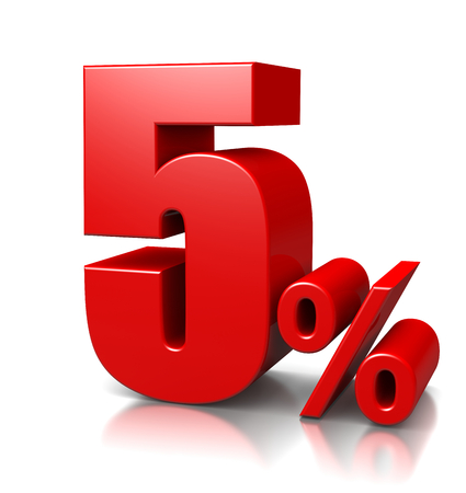 Red Five Percent Number on White 스톡 콘텐츠
