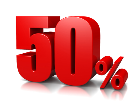Red Vijftig procent Number op Wit