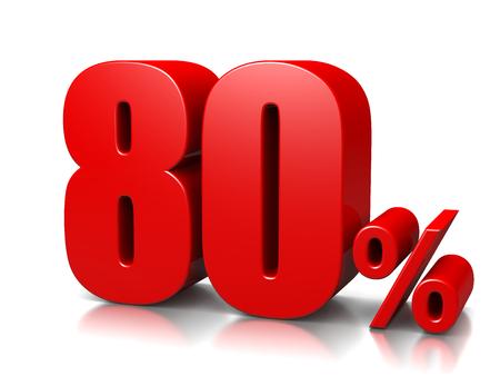 achtzig: Red Achtzig Prozent Zahl auf wei�em Lizenzfreie Bilder
