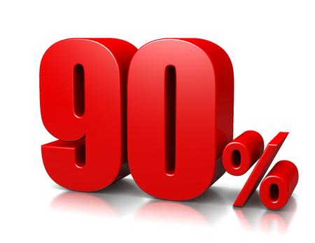 ninety: Red Ninety Percent Number on White