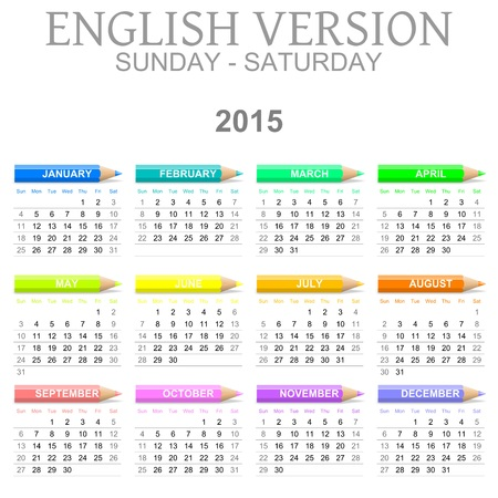 Colorful Sunday to Saturday 2015 Calendar with Crayons English Version Illustration illustration