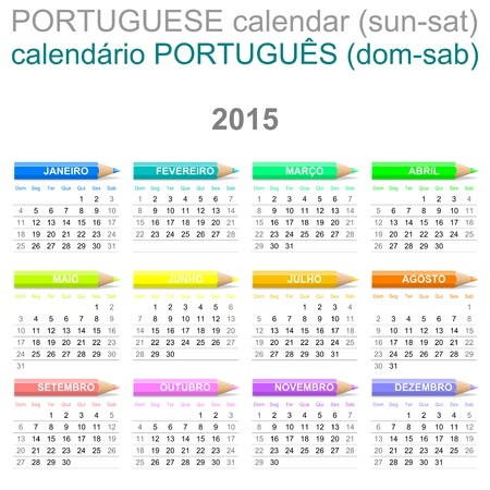 saturday: Colorful Sunday to Saturday 2015 Calendar with Crayons Portuguese Version Illustration
