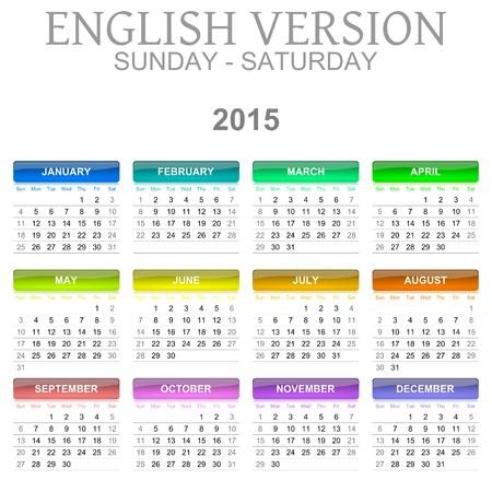 saturday: Colorful Sunday to Saturday 2015 Calendar English Language Version Illustration