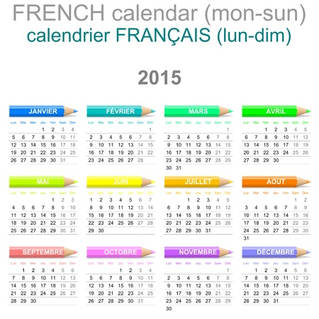 Colorful Monday to Sunday 2015 Calendar with Crayons French Version Illustration illustration