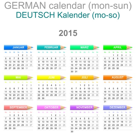 Colorful Monday to Sunday 2015 Calendar with Crayons German Version Illustration illustration