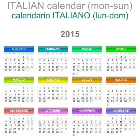 Colorful Monday to Sunday 2015 Calendar Italian Language Version Illustration illustration