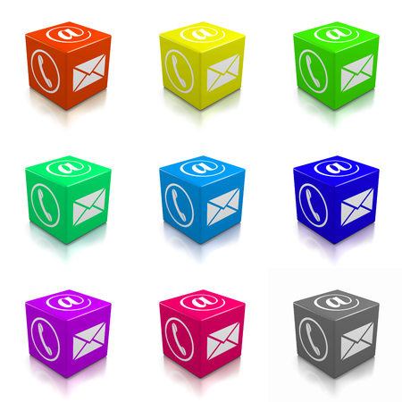 Contact Us Colorful Cubes Collection on White Background