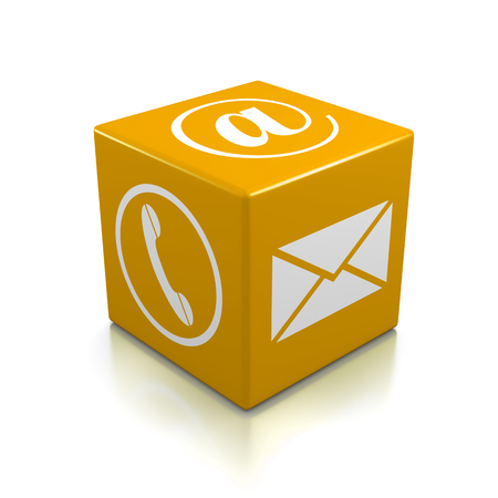 Contact Us Orange Cube on White Background