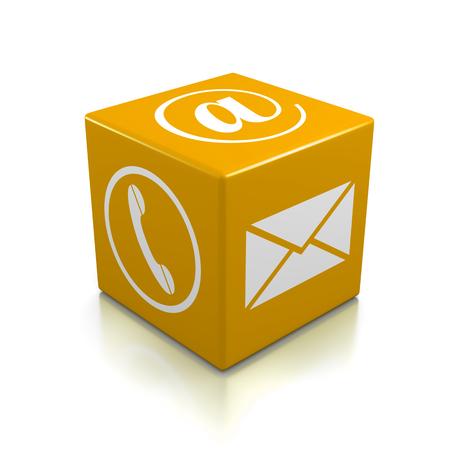 Neem contact met ons op Oranje Kubus op een witte achtergrond Stockfoto - 29840058