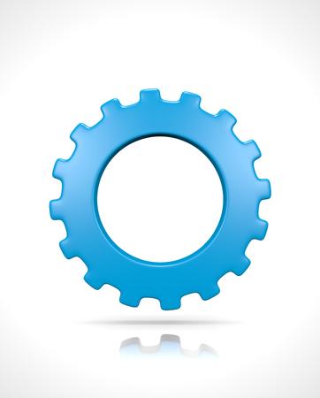 Een Single Blue Gear geïsoleerd op witte achtergrond 3D illustratie