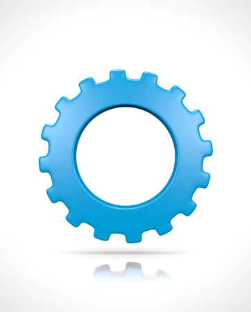 One Single Blue Gear Isolated on White Background 3D Illustration