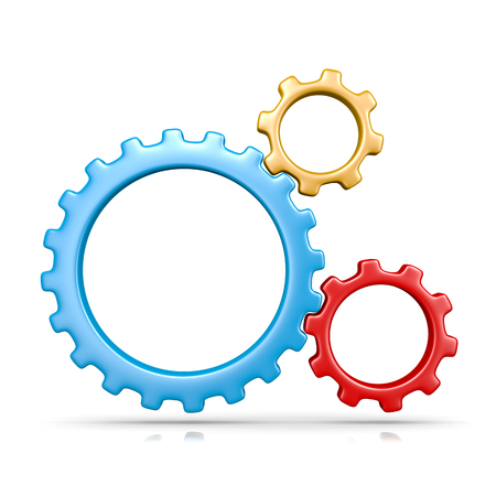toothed: Three Plastic Colorful Gears Engaged 3D Illustration Isolated on White Background