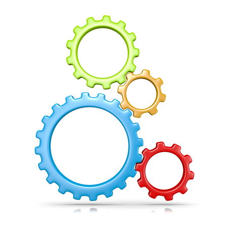 Four Plastic Colorful Gears Engaged 3D Illustration Isolated on White Background Standard-Bild
