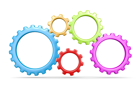 gear motion: Five Plastic Colorful Gears Engaged 3D Illustration Isolated on White Background
