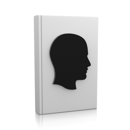 biography: White Book Upright with Human Head on White Background