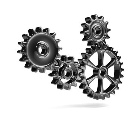 Metallic Cogwheels Engaged 3D Illustration Isolated on White Background