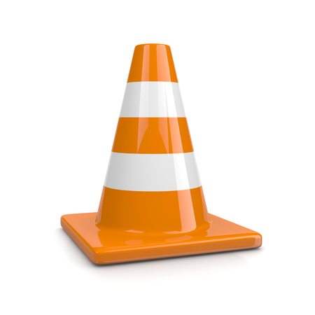 traffic cone: One Single Orange Traffic Cone Isolated on White Background Illustration