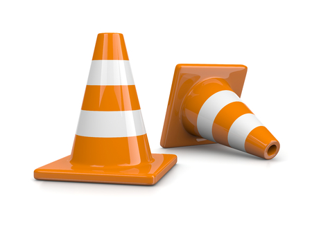 Two Orange Traffic Cones on White Background photo