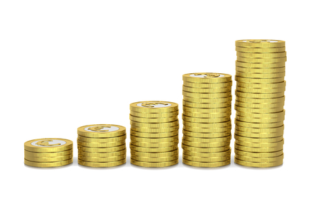 Rising Heaps of Euro Coins 3D Illustration