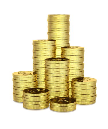 accumulate: Heaps of Dollar Coins 3D Illustration on White Background