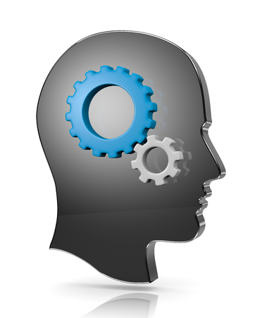 head gear: Human Head with Gears on White Illustration