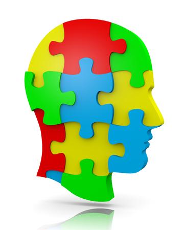 화이트 다채로운 인간의 퍼즐 헤드 그림 스톡 콘텐츠 - 30069631