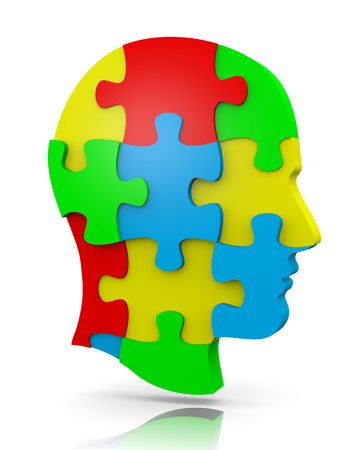 mind games: Colorful Human Puzzle Head Illustration on White