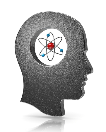 Human Head with Atom Inside on White Illustration
