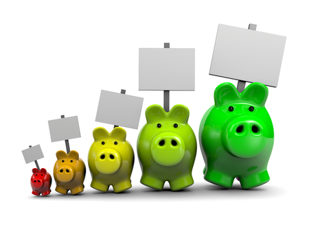 economize: Piggy Banks with Placard as Energetic Classes, Energy Savings Concept Illustration