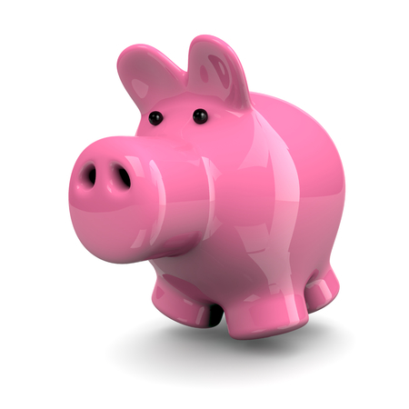 economize: Cute Pink Piggy Isolated on White Background 3D Illustration Stock Photo