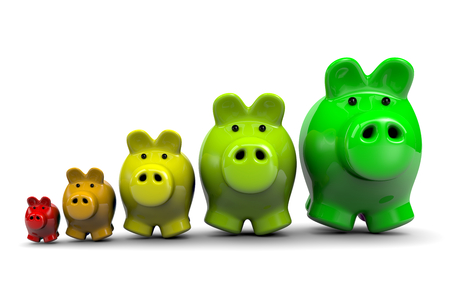 economize: Piggy Banks as Energetic Classes, Energy Savings Concept Illustration