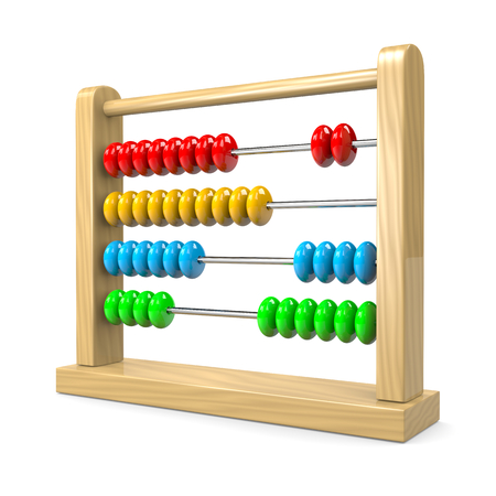 reckon: Colorful Wooden Abacus Illustration on White Background