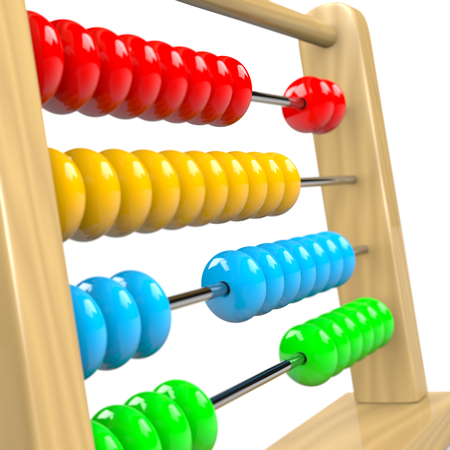 Colorful Wooden Abacus Illustration on White Background