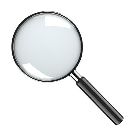 zvětšovací sklo: Metal Lupa skla na bílém pozadí Reklamní fotografie