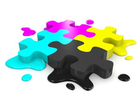 combined: CMYK Colores Puzzle piezas combinadas con manchas de tinta en ilustraci�n de fondo blanco Foto de archivo