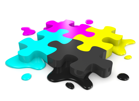 CMYK Colors Puzzle Pieces Combined with Ink Stains on White Background Illustration