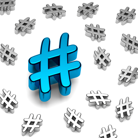 tweets: Blue Metallic Hashtag on White Background 3D Illustration