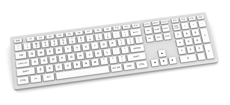 computer keyboard: White Complete Pc Keyboard Isolated on White Background Stock Photo
