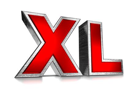 "Red Metallic ""XL"" Text on White Background 3D Illustration"