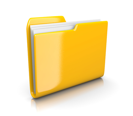 gather: Single Yellow Document Folder on White Background 3D Illustration
