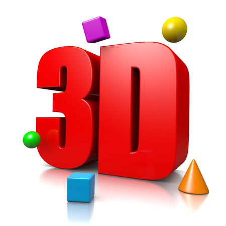 three objects: Red 3D Text with some Three Dimensional Objects Illustration on White Background, 3D Concept Stock Photo