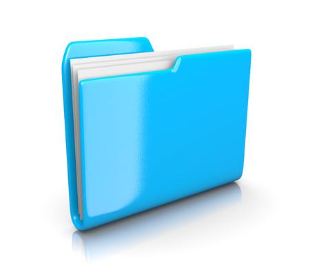 organise: Single Blue File Folder on White Background 3D Illustration